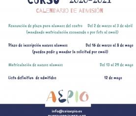(CURSO 2020-2021) ABIERTO PLAZO NUEVAS MATRÍCULAS ONLINE